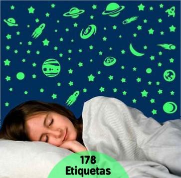 Kit de Etiquetas Fluorescentes Espaço Sideral (Brilham no Escuro)