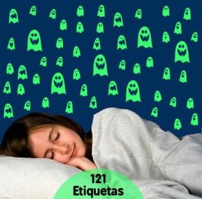 Kit de Etiquetas Fluorescentes Fantasminhas (Brilham no Escuro)